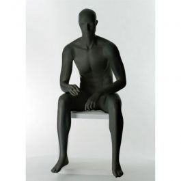 MALE MANNEQUINS - DISPLAY MANNEQUINS SEATED : Male mannequin seated with head black color