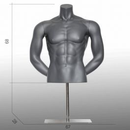 MALE MANNEQUIN BUST - SPORT TORSOS AND BUSTS : Male sport bust arms at the back gray color