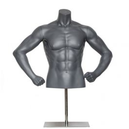 MALE MANNEQUIN BUST - SPORT TORSOS AND BUSTS : Male sport bust bended arms gray color