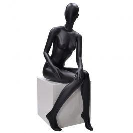 PROMOTIONS MANNEQUINS VITRINE FEMME : Mannequin de vitrine femme assis noire tête abstraite