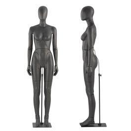 MANNEQUINS VITRINE FEMME - MANNEQUIN FLEXIBLE : Mannequin de vitrine flexible noir tête abstraite