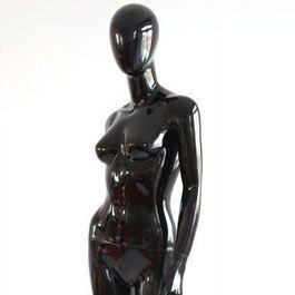 Mannequins abstraits  Mannequin femme noir brillant bras long du corps Mannequins vitrine