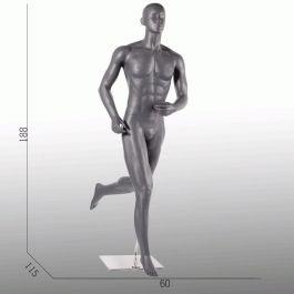 MANNEQUINS VITRINE HOMME - MANNEQUINS SPORT  : Mannequin vitrine course à pied coloris gris