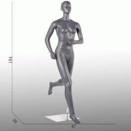 MANNEQUINS VITRINE FEMME - MANNEQUIN SPORT  : Mannequin vitrine femme course à pied coloris gris