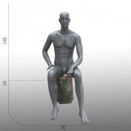 MANNEQUINS VITRINE HOMME - MANNEQUINS ASSIS : Mannequin vitrine homme abstrait position assis