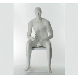 MANNEQUINS VITRINE HOMME - MANNEQUINS ASSIS : Mannequin vitrine homme assis tête semie abstraite blan