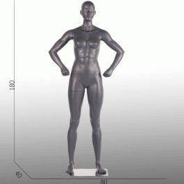 MANNEQUINS VITRINE FEMME - MANNEQUIN SPORT  : Mannequins femme sport position droite gris