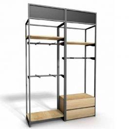 MOBILIARIO Y EQUIPAMIENTO COMERCIAL - GONDOLAS POR TIENDAS : Mueble modular de pared con estantes y ropas a colgar