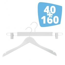 CINTRES PROFESSIONNELS - OFFRES SPECIALES CINTRES EN BOIS : Pack 160 cintres en bois simple + 40 cintres clip blanc