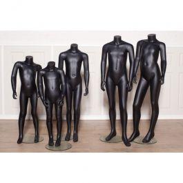 PROMOTIONS MANNEQUINS VITRINE ENFANT : Pack 5 mannequins enfant sans tête coloris noir