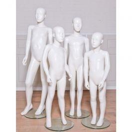 MANNEQUINS VITRINE ENFANT - MANNEQUINS ABSTRAITS : Pack 4 mannequins enfant vitrine glossy blanc avec tête