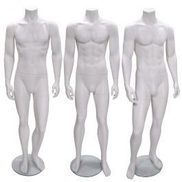 PROMOTIONS MALE MANNEQUINS : Pack x 3 male mannequin headless white color