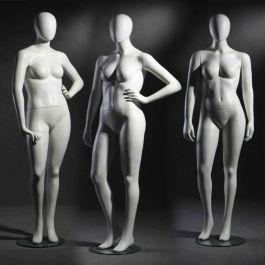 MANNEQUINS VITRINE FEMME - MANNEQUINS FEMME FORTE : Pack x 3 mannequin vitrine femme forte blanc