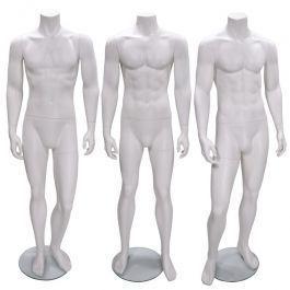 MANNEQUINS VITRINE HOMME : Pack x 3 mannequin vitrine homme sans tête blanc