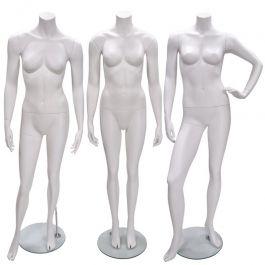 MANNEQUINS VITRINE FEMME - MANNEQUIN SANS TêTE : Pack x 3 mannequins vitrine femme blanc sans tête