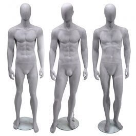 MANNEQUINS VITRINE HOMME - MANNEQUINS ABSTRAITS : Pack x 3 mannequins vitrine homme gris ciment