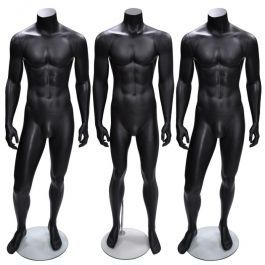 PROMOTIONS MANNEQUINS VITRINE HOMME : Pack x 3 mannequins vitrine homme noir sans tête