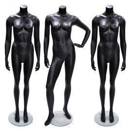 MANNEQUINS VITRINE FEMME - MANNEQUIN SANS TêTE : Pack x3 mannequins femme sans tête noire