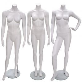 FEMALE MANNEQUINS - MANNEQUIN HEADLESS : Package deal 3x headless female mannequin white finish
