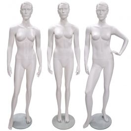 DAMEN SCHAUFENSTERFIGUREN - SCHAUFENSTERPUPPEN STILISIERT : Packet 3 x damen schaufensterfiguren weiss