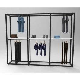 MATERIEL AGENCEMENT MAGASIN - GONDOLES MAGASIN : Presentoir vetement magasin etagere blanche