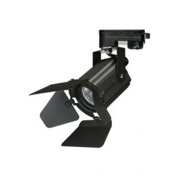 LAMPADE SPOT PER NEGOZI - FARETTI : Proiettore nero a 3 fasi con lampione gu10