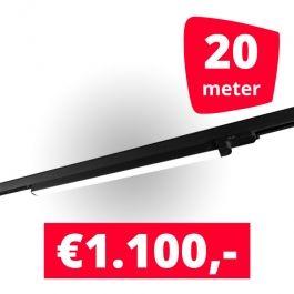 SPOTS POUR MAGASIN - ECLAIRAGE SUR RAIL à LED LINéAIRE : Rails 20m + 10 led lineaire noir 120 cm 3500k 30w