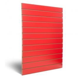 RETAIL DISPLAY FURNITURE : Red grooved panel 10 cm