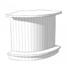 COUNTERS DISPLAY & GONDOLAS - CURVED COUNTERS : Round counter with shelves 90 cm s c-pec-008