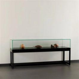 THEKENVITRINE - AUSSTELLUNG THEKENVITRINE : Schwarze vitrine mit glasglocke 150 cm