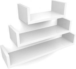 LADENAUSSTATTUNG - REGALE : Set mit 3 weißen wandregalen