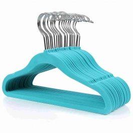 WHOLESALE HANGERS - VELVET HANGERS : Set of 20 cyan velvet kids hangers