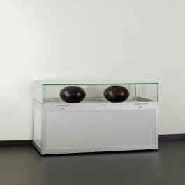 THEKENVITRINE - AUSSTELLUNG THEKENVITRINE : Silber vitrine mit glasglocke und led