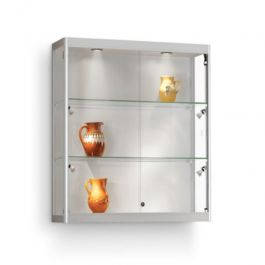 RETAIL DISPLAY CABINET - WALL DISPLAY CABINET : Silver wall showcase with 4 led spots
