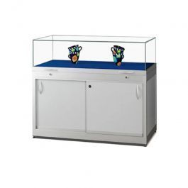 RETAIL DISPLAY CABINET - EXHIBITION DISPLAY CABINET : Silver window with storage box