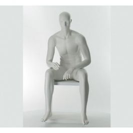 HERREN SCHAUFENSTERFIGUREN - SCHAUFENSTERPUPPE SITZEND : Sitzen herren schaufensterfiguren astrakt kopf weiss