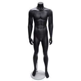 MALE MANNEQUINS - DISPLAY MANNEQUINS HEADLESS  : Straight male mannequin without head black color