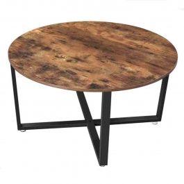 MATERIEL AGENCEMENT MAGASIN - TABLES : Table basse ronde avec structure industrielle en fer