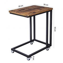 MATERIEL AGENCEMENT MAGASIN - TABLES : Table de chevet à roulette en bois rustique