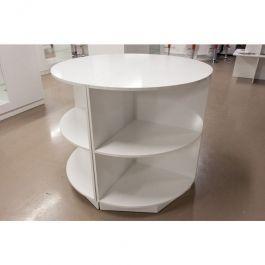MATERIEL AGENCEMENT MAGASIN - TABLES : Table ronde avec étagères blanches