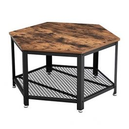 MATERIEL AGENCEMENT MAGASIN - TABLES : Table vintage hexagonale en bois et métal