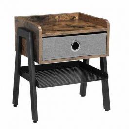 ARREDAMENTO NEGOZI - MUEBLES INDUSTRIALES : Tavolino in stile industriale con cassetto in tessuto