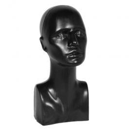 PROMOTIONS ACCESSOIRES MANNEQUIN VITRINE : Tête de mannequin vitrine femme en plastique noir