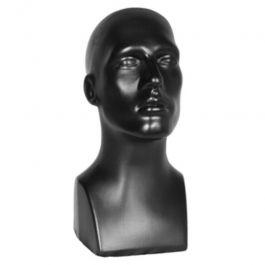 PROMOTIONS ACCESSOIRES MANNEQUIN VITRINE : Tête de mannequin vitrine hommne en plastique noir