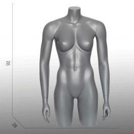 BUSTE MANNEQUIN FEMME - TORSOS MANNEQUIN : Torso 3/4 mannequin femme gris graphite