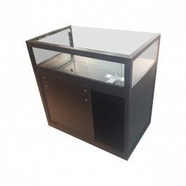 VETRINE E VETRINETTE PER NEGOZIO - VETRINE DA BANCO : Vetrina nera da banco 100 cm con scomparto in vetro