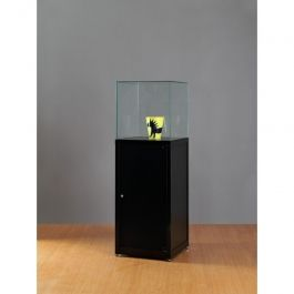 VITRINES D'EXPOSITION : Vitrine colonne en metal noir et verre