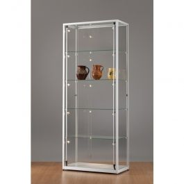 VITRINES D'EXPOSITION - VITRINES COLONNES : Vitrine colonne luxe aluminium et verre 80 cm