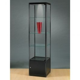 VITRINES D'EXPOSITION - VITRINES AVEC éCLAIRAGE : Vitrine colonne metal noir et verre  avec halogene