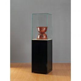 VITRINES D'EXPOSITION - VITRINES COLONNES : Vitrine noir et verre sv500